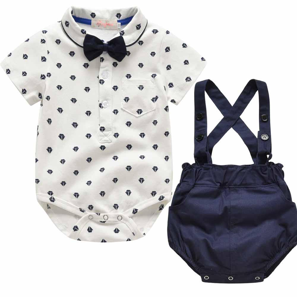 2018 Fashion Summer Newborn Kids Clothes Set Baby Boys Outfits Romper + Shorts Jumpsuit Toddler Baby Boy Clothes Sets