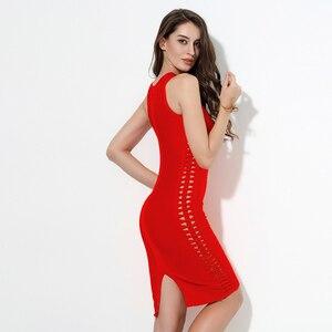 Image 5 - 2020 חדש כתום חאקי אדום O צוואר חלול מתוך Bodycon נשים תחבושת שמלות Midi שרוולים סלבריטאים מסיבת חג המולד שמלה