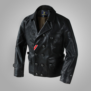 M-2XL!!For flight jacket black double breasted water washed leather clothing outerwear