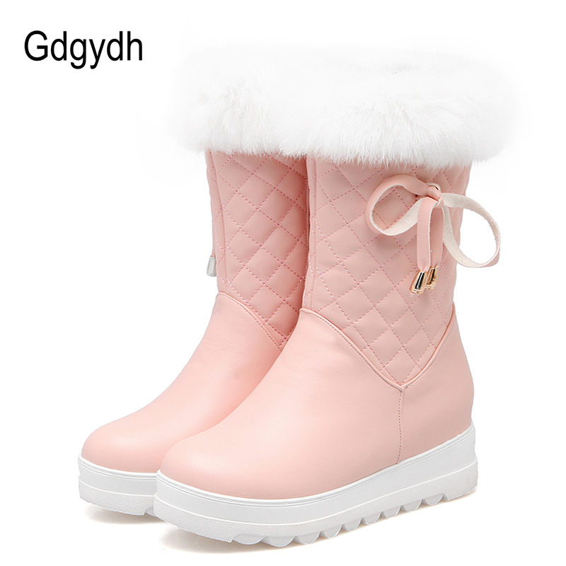 Gdgydh Fashion Real Fur Snow Boots  Women Warm Shoes Woman Plush Insole Black Botas Mujer 2017 New Winter Russian Plus Size 43