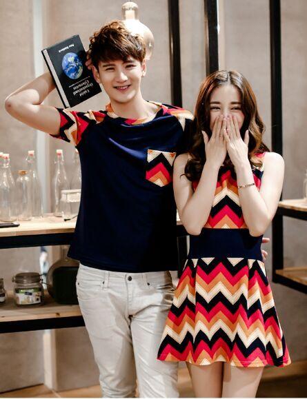 67b23fb142a Fashion Couple Clothes Lovers T Shirts Dress Men Women Summer Casual Beach  Wear Cute Korea Matching Shirts