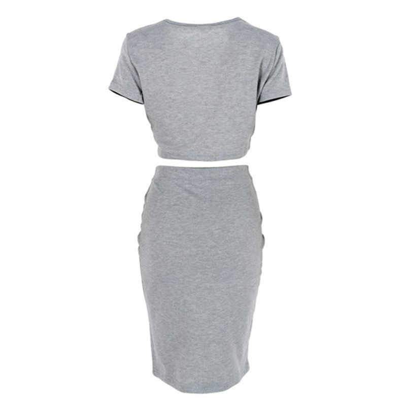 Lato Midi spódnice z krótkim rękawem Top kobiety klub spódnica Sexy Party Bodycon Vestidos dwuczęściowy stroje