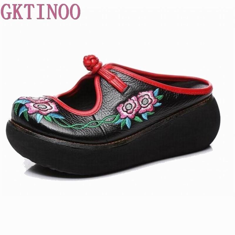 GKTINOO Embroidery Sandals Summer Genuine Leather Shoes Handmade Slides Flip Flop Platform Clogs For Women Wedges
