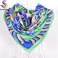 Women Geometric Satin Square Scarves New Design Emerald Imitated Silk Scarf Cape Spring Autumn Muslim Female Headscarves 90*90CM