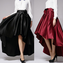 Women Vintage Palace Style Irregular High Waist Bow Tie Skirt Femme Elegant  Party Pleated Ball Gown b27f0ddd628d