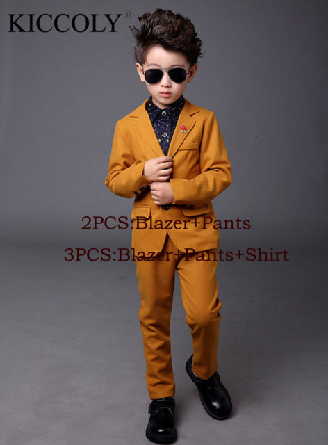 Top Quality Boys Blazer 3 Pcs Set Wedding Suits For Boy Formal Dress Suit Kid Tuxedos Page Outfits
