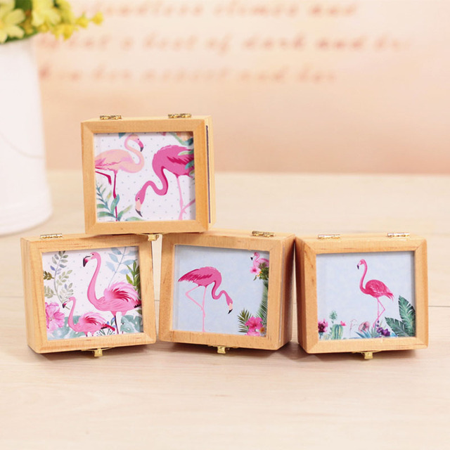 INS nórdico reloj musical caja estudiante regalo Flamingo patrón ...