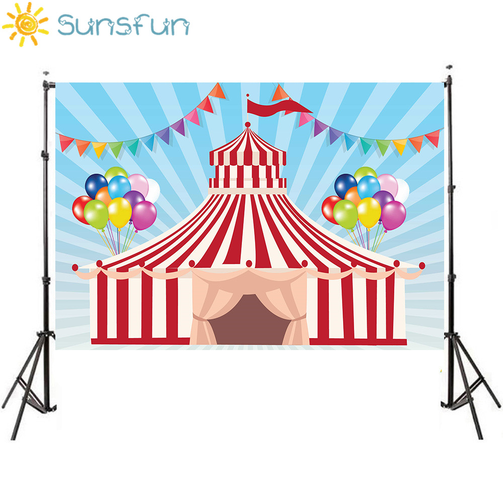 Sunsfun 7x5ft Vinyl Carnival Circus Balloons Flags Children Birthday Custom Photo Studio Backdrop Background 220x150cm sensfun where the wild things are dessert table backdrops custom photo studio backdrop background vinyl 7x5ft