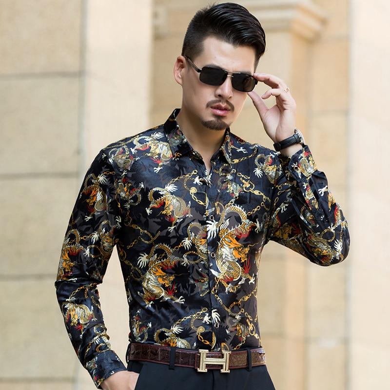 New arrival mens 2017 autumn see through shirts long sleeve china dragon clothing man sexy hollow gold velvet dress shirt