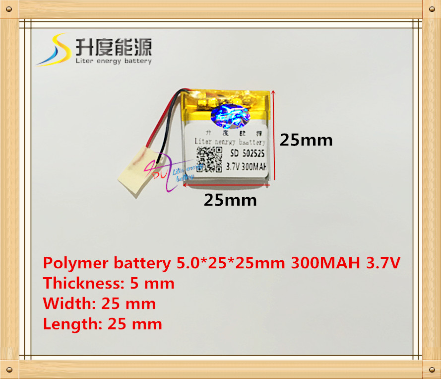 3.7V 300mAh 502525 052525 Polymer Thium Ion Battery Bluetooth MP3 MP4 Sound Card Beauty Instrument