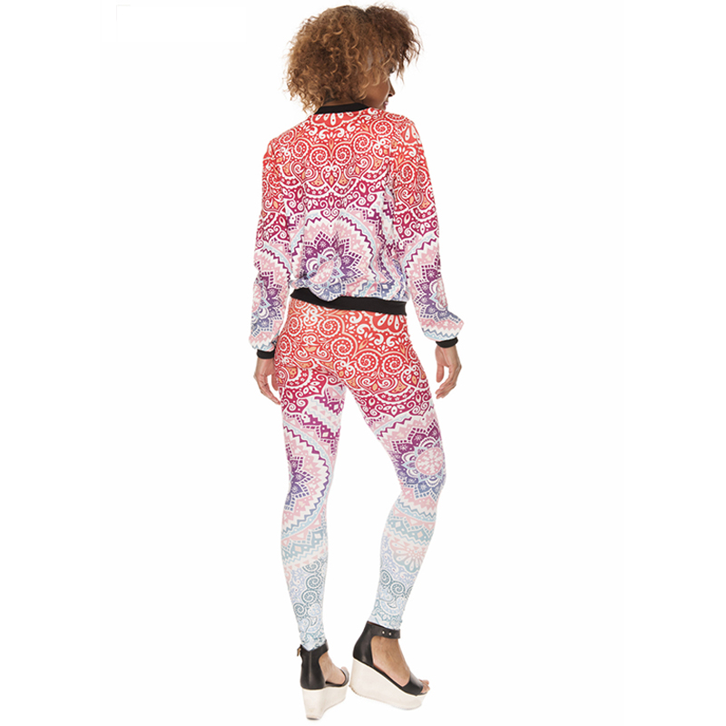 Image 4 - Pink Aztec Mandala Print Fashion Woman Leggings Lady Close fitting Fitness Pants Breathable Perspiration Quick dry Sport Pants-in Leggings from Women's Clothing