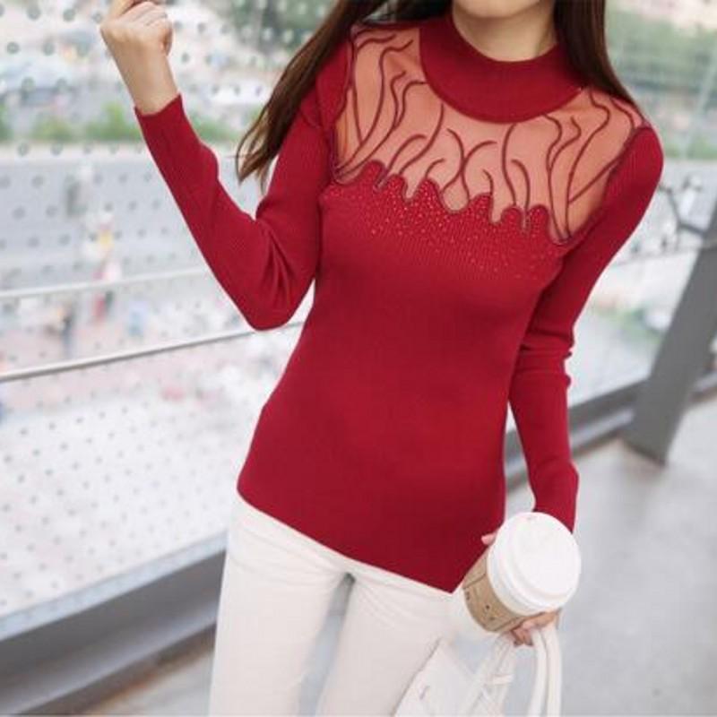2017 diamantes De La Moda de encaje Suéter camisa Básica Delgada de manga larga