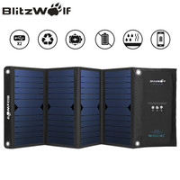 BlitzWolf Dual USB Solar Power Bank Solar Panel Powerbank External Battery Pack For IPhone X 8