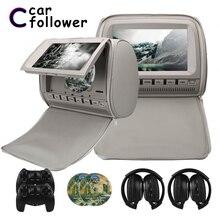 2 uds. De reposacabezas de DVD para coche pantalla TFT LCD con cubierta de 9 pulgadas de cremallera de 800x480, reproductor MP5, compatible con IR/FM/USB/SD/altavoz/TV de juego para coche