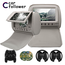 2PCS 9 Inch DVD Headrest Car Monitors 800*480 Zipper Cover TFT LCD Screen MP5 Player Support IR/FM/USB/SD/Speaker/Game Car TV