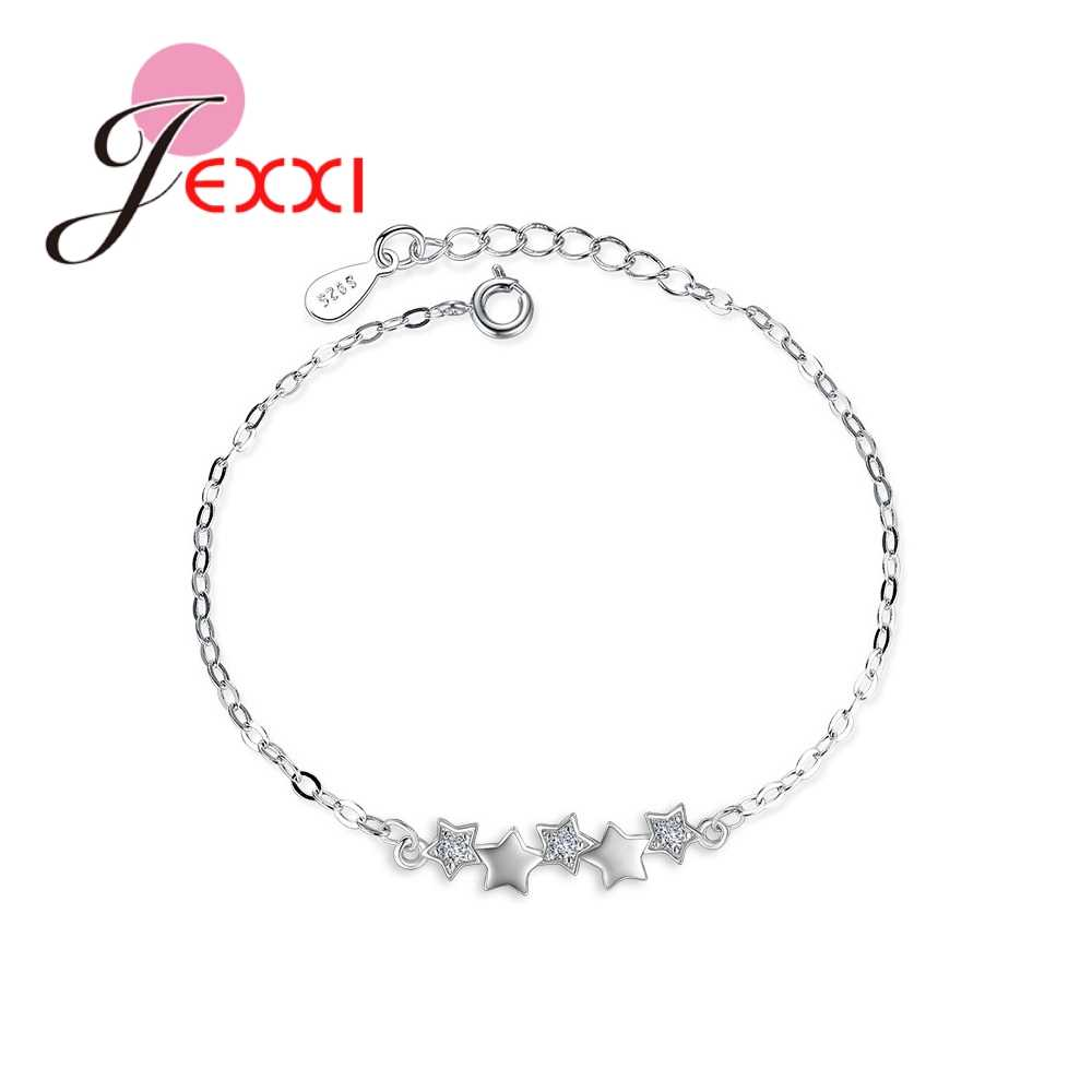 New Arrival Big Promotion Beautiful Small Stars Pure 925 Sterling Silver Bracelets Top Quality Christmas Gift For Girls