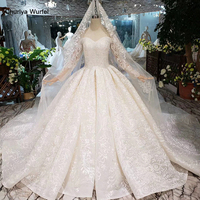 HTL276 Sweetheart lace wedding dresses with long sleeve handmade flowers appliques princess wedding gown 2019 new fashion design