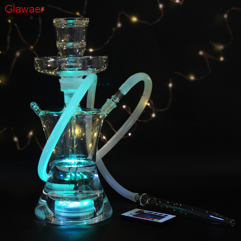 82002b Top new Chinese style Fashion cool Glass hookahs shisha narguile smoking water pipe for gifts complete set with Led Light