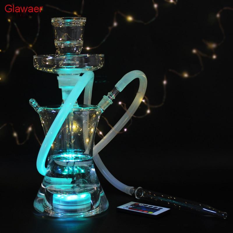82002b Top nouveau style Chinois Mode cool Verre narguilés shisha narguilé pipe à eau pour cadeaux ensemble complet avec Led lumière