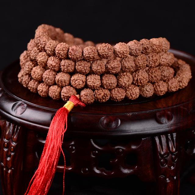 Tibetano KingKong Bodhi Contas Pulseira 108 Rosário 8mm Rodada Red Tassel Pulseiras Rudraksha Bodhi Sementes Oração Buda Mala Japa