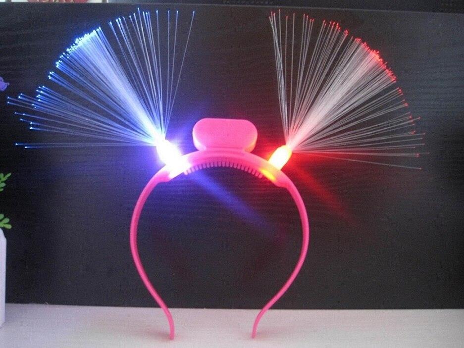 20ks / lot Zářící LED Fiber Horn Party Záře Čelenka Čelenka Fandění Narozeniny Svatební Party Festival Dodávky Blikající vlasy