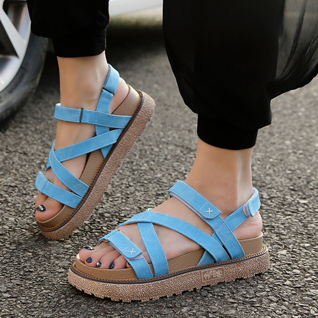 63008872846df3 Summer Sandals Woman Gladiator Rome Shoes For Women Casual Fashion Cowboy  Canvas Sandals British Style Big
