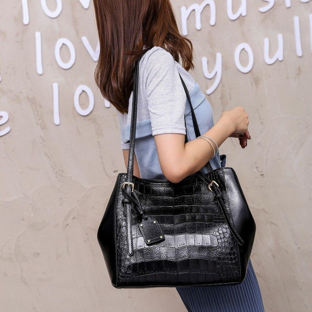 Big Bag  Solid Female Bag Crocodile Pattern Women PU Leather Tote Bag Portable Girl Bag Multi-Functional Bag