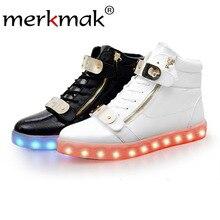 Merkmak 2017 женская обувь мужская мода блестками ботинки световой любовник flash ботильоны usb зарядки загорается светодиодный обувь взрослых