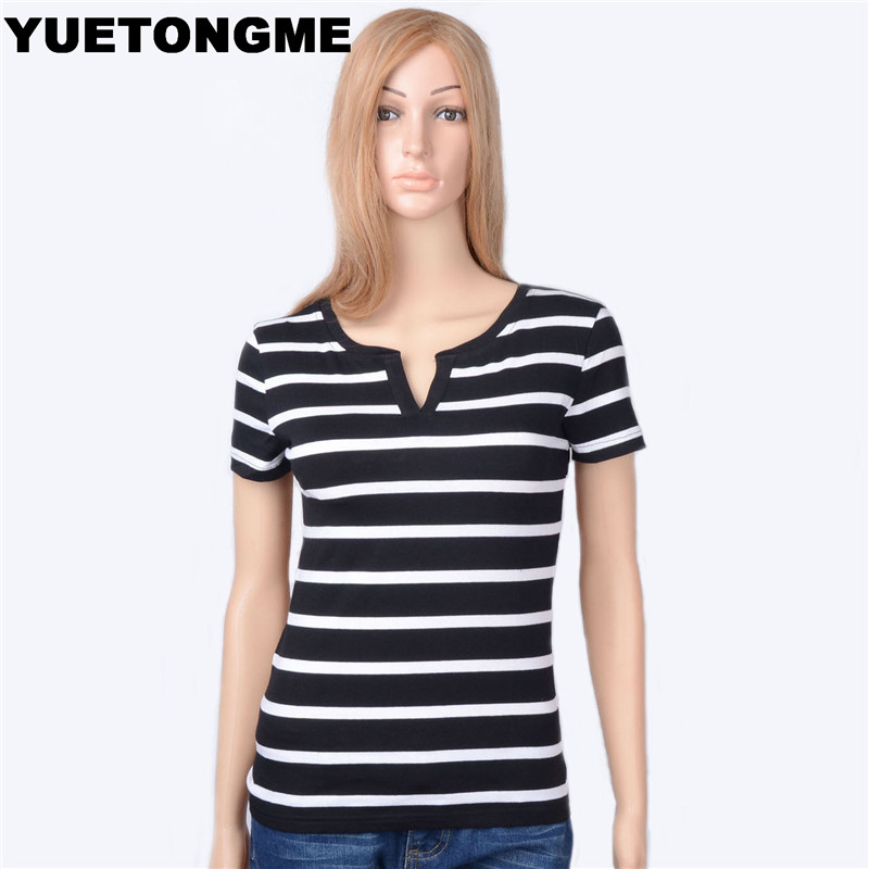 Yuetongme 2017 new summer cotton v black and white striped for Black and white short sleeve shirts