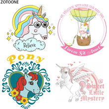 ZOTOONE Cute Unicorn Garment Patch for Body Iron-on Transfer DIY T-shirt Washable Appliqued Colorful Heat Transfers Clothing