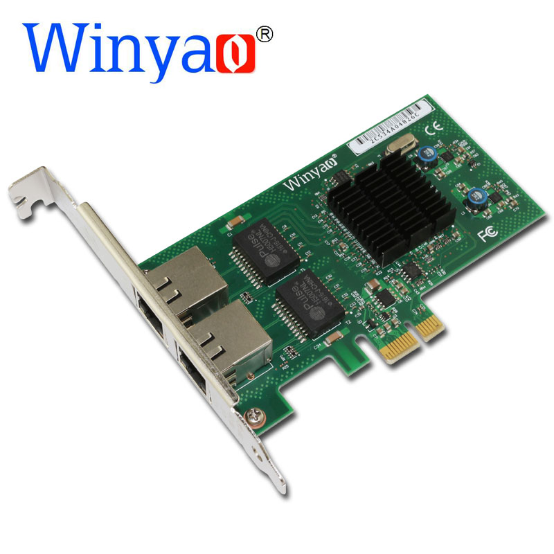 Winyao WY576T2 PCI-e X1 Dual Port Server Adapter Copper RJ45 Gigabit 1000Mbps Ethernet Network Card For Intel 82576 E1G42ET lan 39y6106 39y6107 pci x ethernet adapter for 82545gm original 95