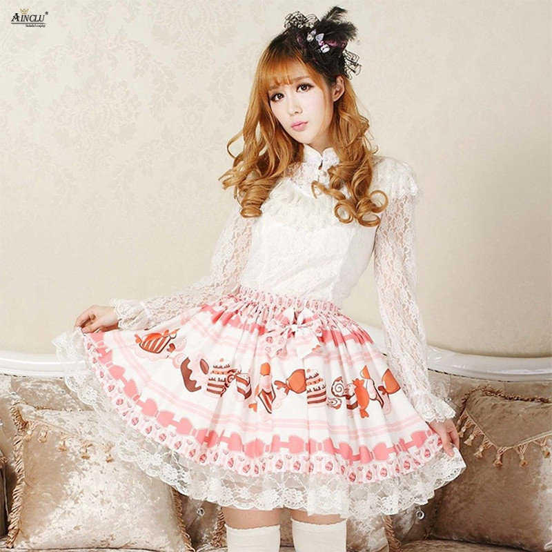 Sweet Style Ainclu 2018 Womens Lolita Skirts Pink Polyester Lace Cream Cake Printed Cute Girls Cosplay Puff Skirts XS XXL