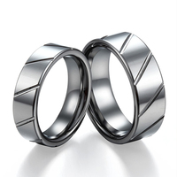 Tailor Made 8mm 6mm Groove Lines Matching Tungsten Rings Set Size 4 18 CNR27