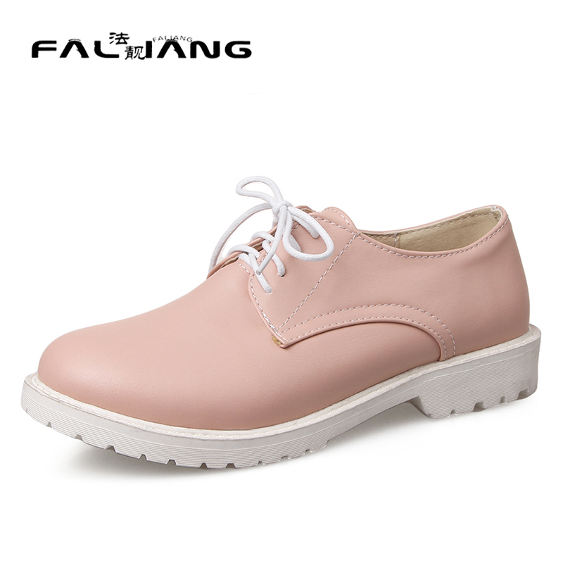 ФОТО New rouned toe fashion low square heel women shoes 2017 autumn white balck casual school style women lace up Flats