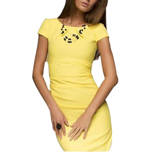 ADW 2017 NEW sexy summer dress Lady Casual vestido Bodycon Elegant short sleeve o-neck Party evening club midi dress -Yellow