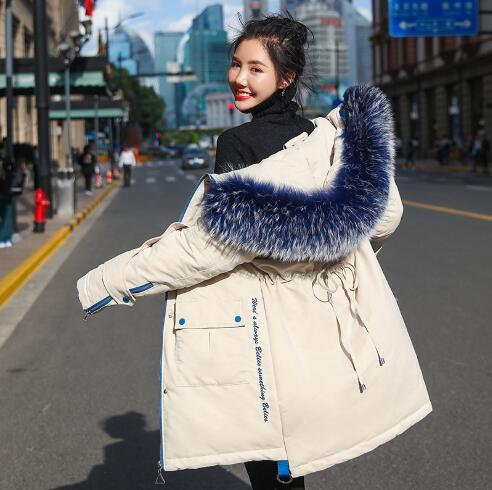 Women   Down     Coat   2018 New Long Style Thickening White Duck   Down   Parka Office Lady Fashion Warm Big Fur Collar Hooded Snow Jacket