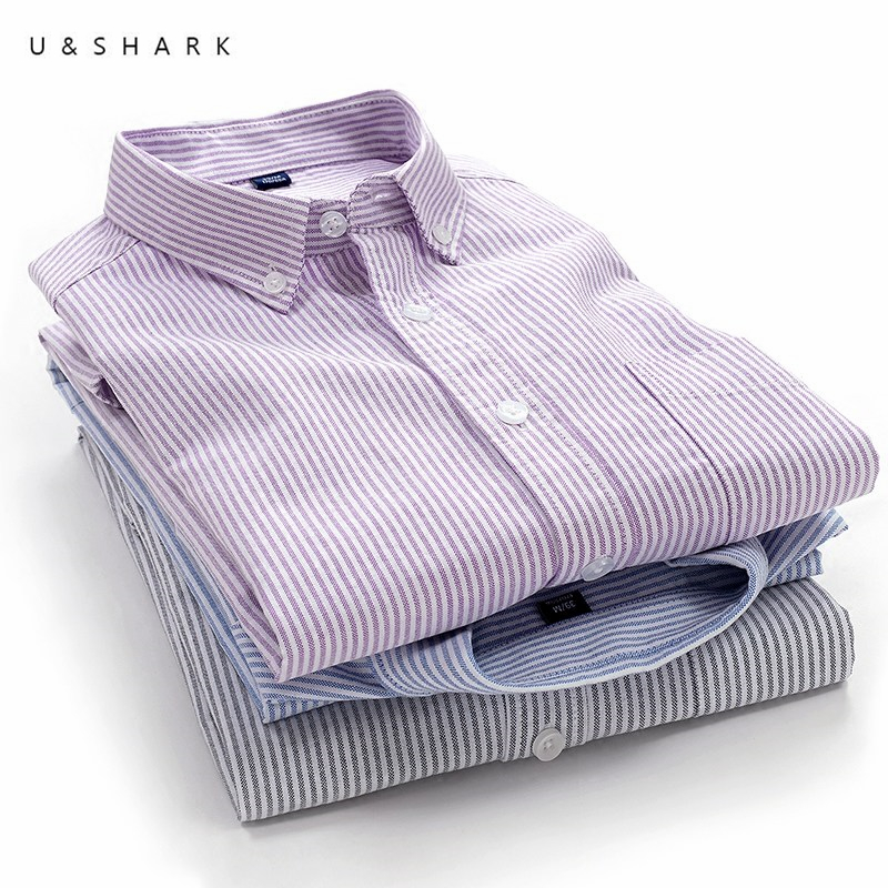 c6bcc26c15 U   TUBARÃO Outono Nova 100% Algodão Oxford Camisa Listrada Dos Homens  Manga Longa Slim Fit Camisas de Vestido Dos Homens de Negócios Formal camisa  Social ...