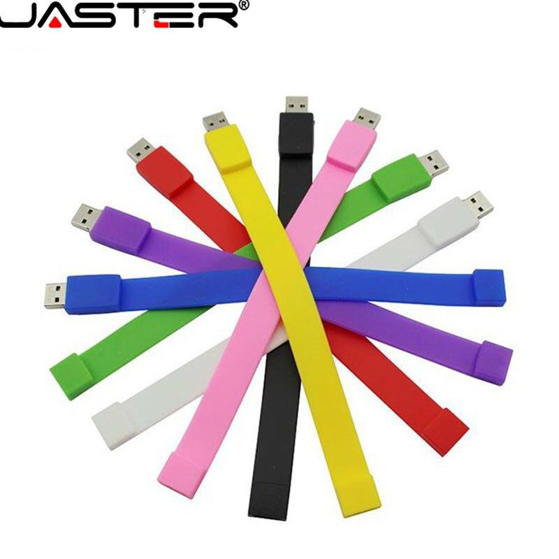 JASTER Silicone Bracelet Wrist Band 2GB 4GB 8GB 16GB 32GB 64GB USB 2.0 USB Flash Drive Pen Drive Stick U Disk Pendrives