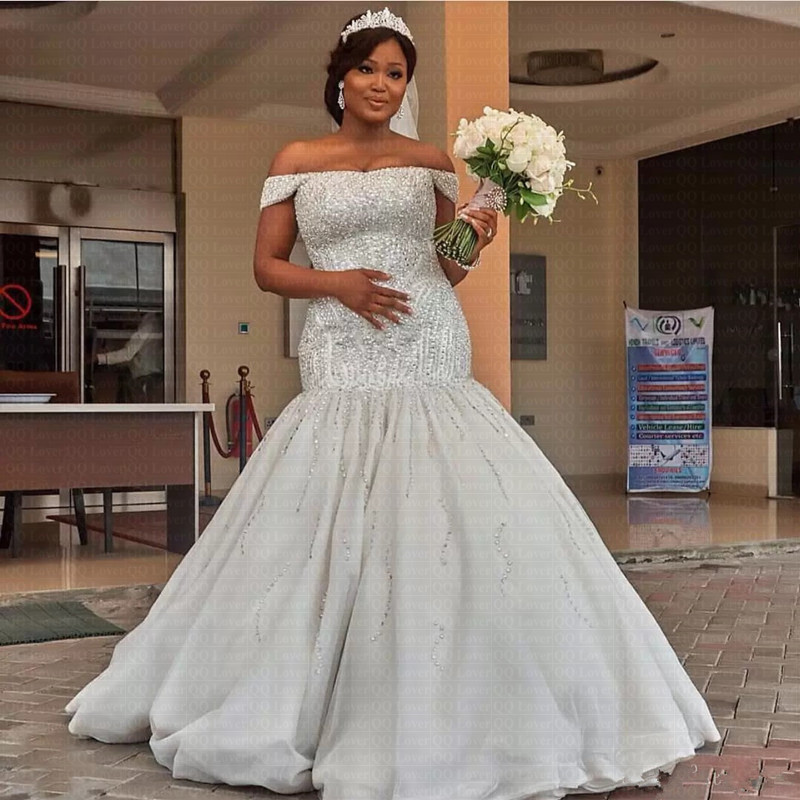 2019 Luxurious Beaded Sequins Plus Size Mermaid Wedding Dresses Dubai African Off Shoulder Floor Length Bridal Gowns