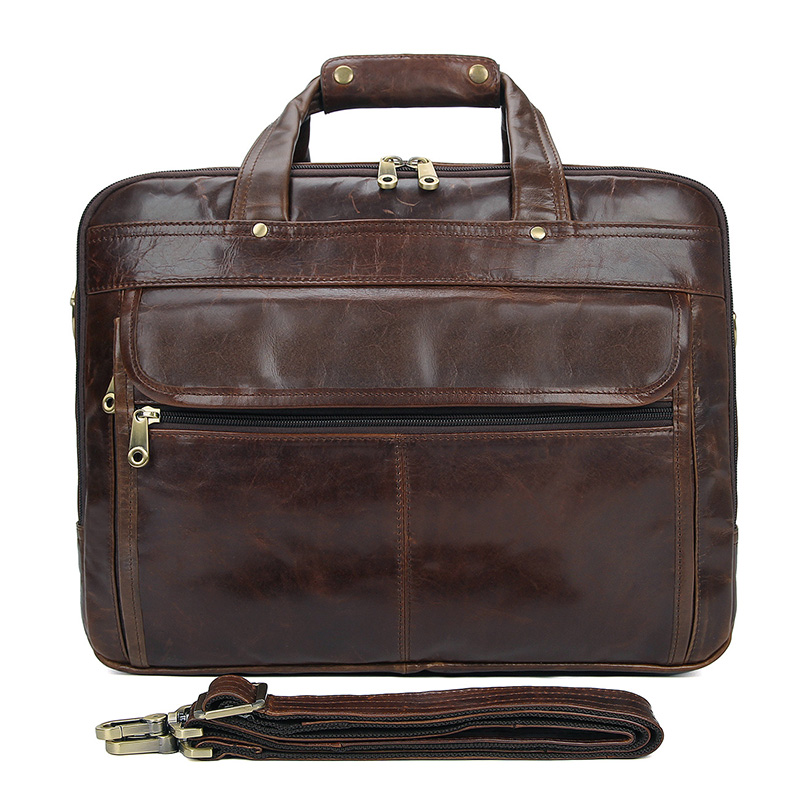 7146Q JMD 100% Genuine Cowhide Leather Hand Briefcases For Men Business Trip