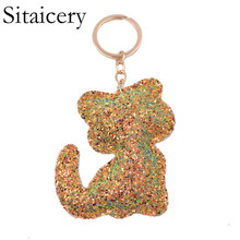 Sitaicery PU Leather Keychain Shiny Reflective Cartoon Couple Ms. Personality Accessories Cute Cat Car Keys Pendant