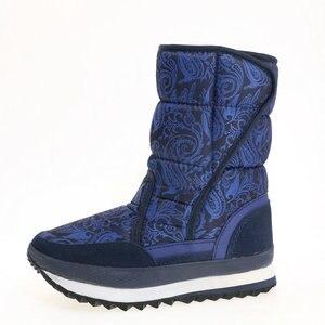 Image 2 - כחול כהה מגפי צבע ליידי נעלי חורף חם מדרסים שלג אתחול גודל גדול נחמד למראה בד עליון גומי וeva outsole לא להחליק