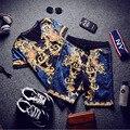 2016 Conjunto Homme Marca De Lujo Real Elásticos Pantalones Cortos Para Hombre Homme oro Royal Blue Mens Camiseta y pantalones cortos Set Barca Club De Lujo