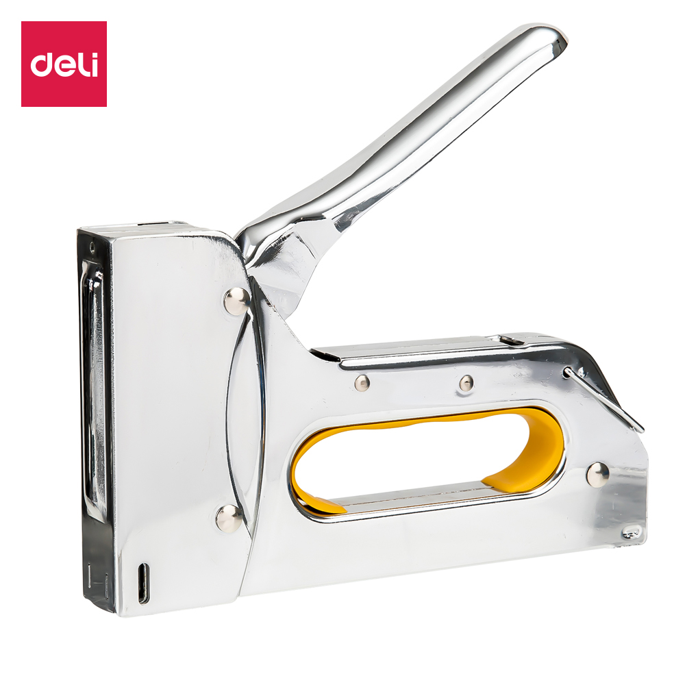 Deli Tacker Heavy Duty Staple Gun For DIY Home Decoration Furniture Wood Working Stapler Manual Nail Gun All Metal Construction