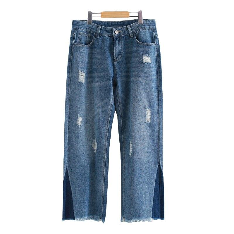 Women Jeans Pant 2017 Spring Winter Female Vintage Trouser Blue Hole Loose Pantalon femme Casual Denim Wide Leg Pants Plus Size
