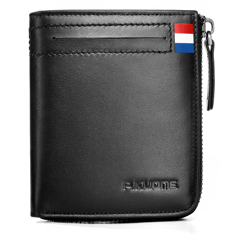 P.Kuone 100% Genuine Leather Men Mini Wallet Credit ID Card Holder Multi-function Small Card and Coin Purse Bill Wallet