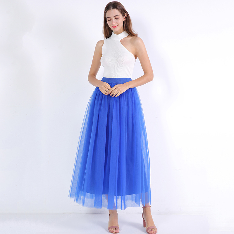 4 Layers 100cm Floor length Skirts for Women Elegant High Waist Pleated Tulle Skirt Bridesmaid Ball Gown Bridesmaid Clothing 22