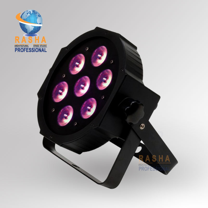 Stock Rasha Brand 7*10W 4in1 RGBW/RGBW MEGA LED Par Light,Stage LED Par Can For DJ Party With DMX IN/OUT 8x lot hot rasha quad 7 10w rgba rgbw 4in1 dmx512 led flat par light non wireless led par can for stage dj club party page 7