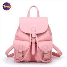 Venta caliente 2015 moda de nueva hot pink mujeres grils mochila de doble hombro bolsas de cuero mochila escolar para los estudiantes 5 color