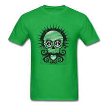 Men T Shirts Peace Love & Piracy Skull Tees 100% Cotton T-shirt Green Team Tshirt Round Collar Short Sleeve Family Clothing somali piracy